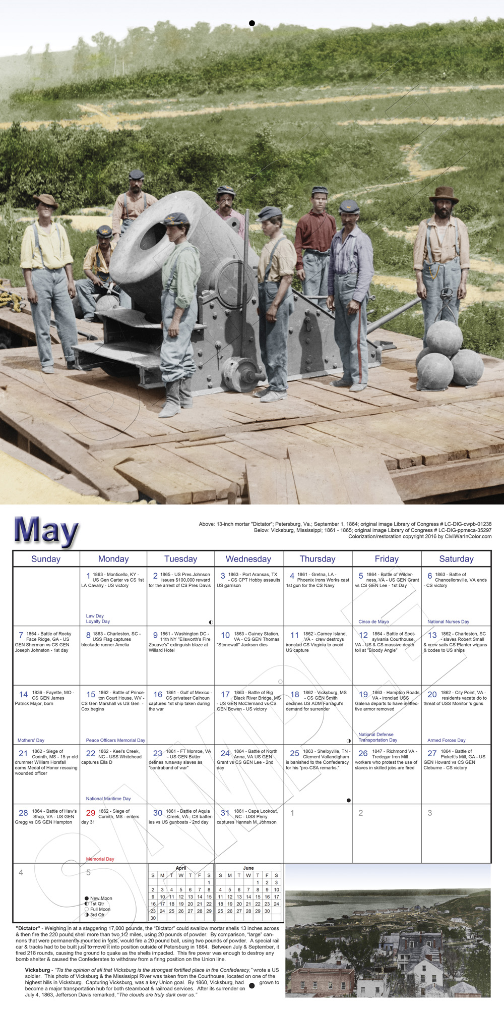 May Calendar History : Calendar history in full color